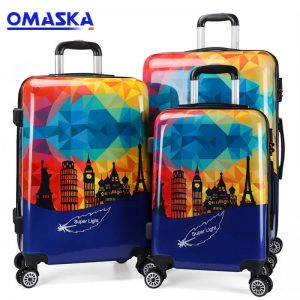 OMASKA hot selling 3pcs set 20″24″28″ 089# Abs Polycarbonate Trolley Luggage