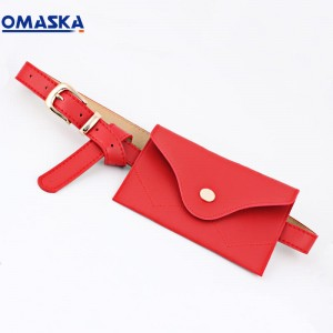 fashion ladies pu waist bag cute pure color belt bag