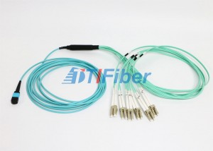OM4 MPO UPC Fiber Optic Patch Cord , 4 8 12 24 Core Cable in Multimode