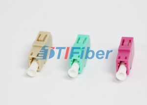 LC PC Multimode Fiber Optic Adapter with PBT Beige Color Housing