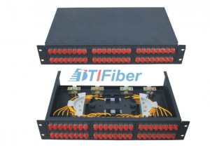 2u 48 Port Patch Panel With FC SC ST Fiber Connectors , Fiber Termination Panel