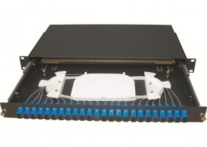 Sliding 1u 24 Port Patch Panel With Drawer And 0.9mm Fiber Pigtail