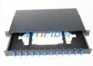 SC 12 Port Fiber Optic Patch Panel For Cabenit With 12 Colors Fiber Pigtials