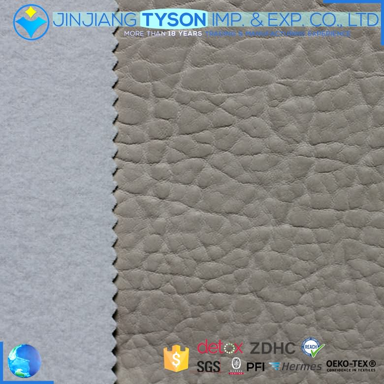 Waterproof design knitted 1.1mm chunky pvc synthetic sofa leather fabric