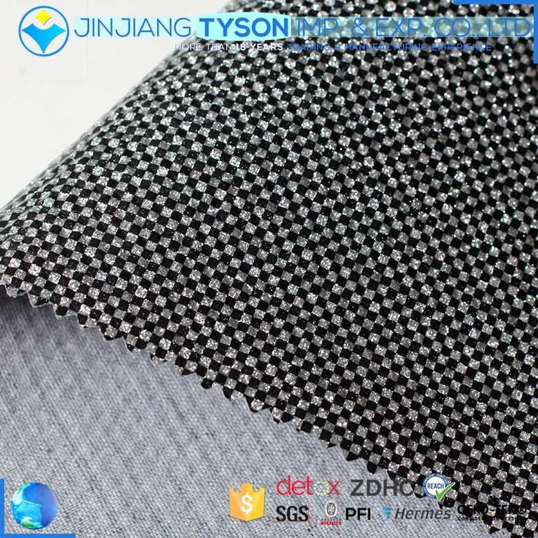 woven backing mirror surface PU mirror glitter leather fabric