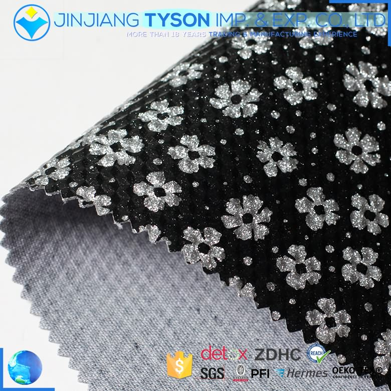 Wholesale small flower pattern woven pu mirror glitter leather