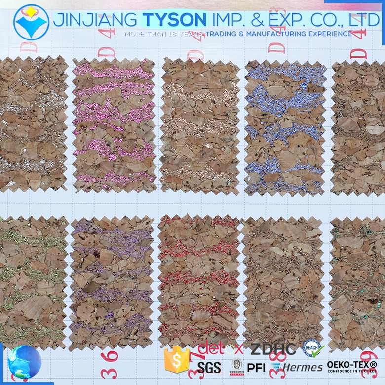 Customized design fashion 0.5mm thickness cork synthetic leather fabric