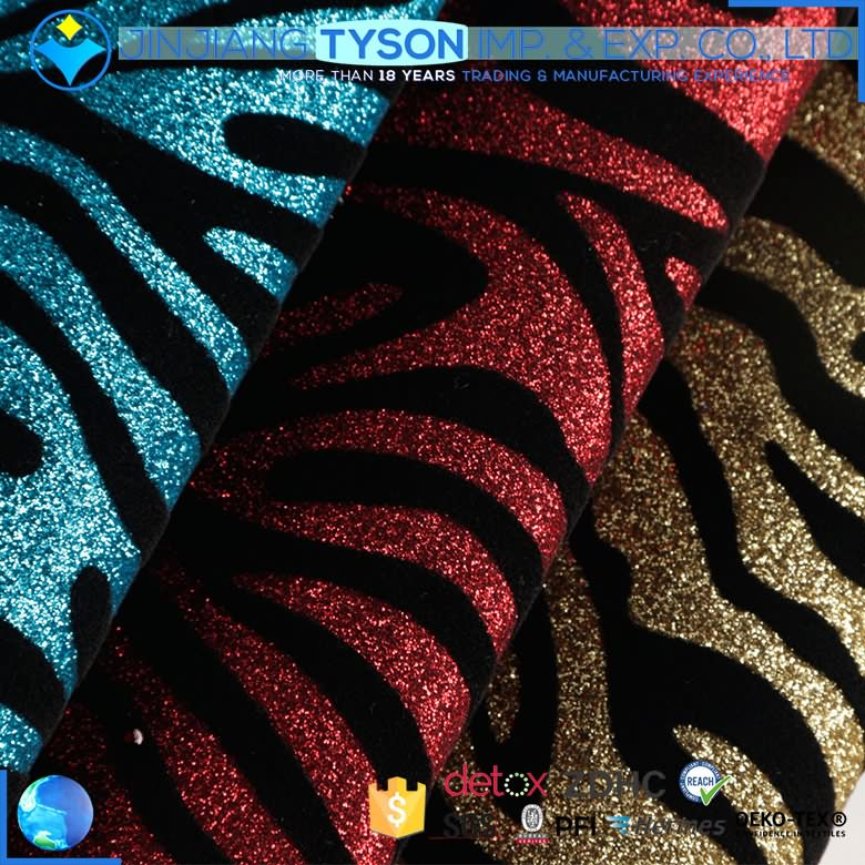 ECO-friendly woven backing 0.7mm pu material flocking zebra glitter leather fabric
