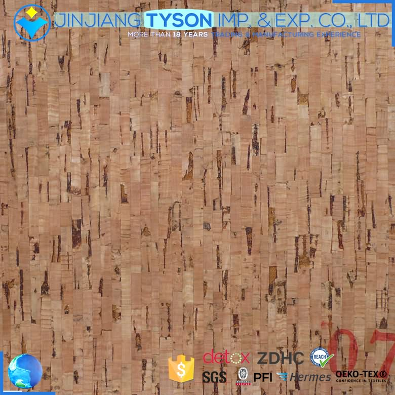 Real wood surface 0.4mm thickness cork series material leather fabric