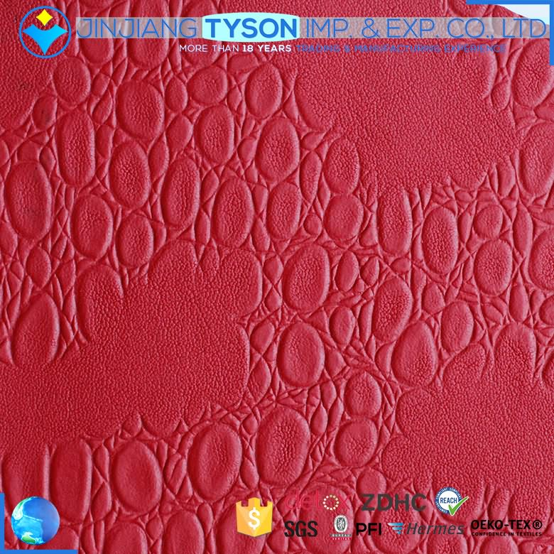 New style waterproof design red pvc foam leather for bag making