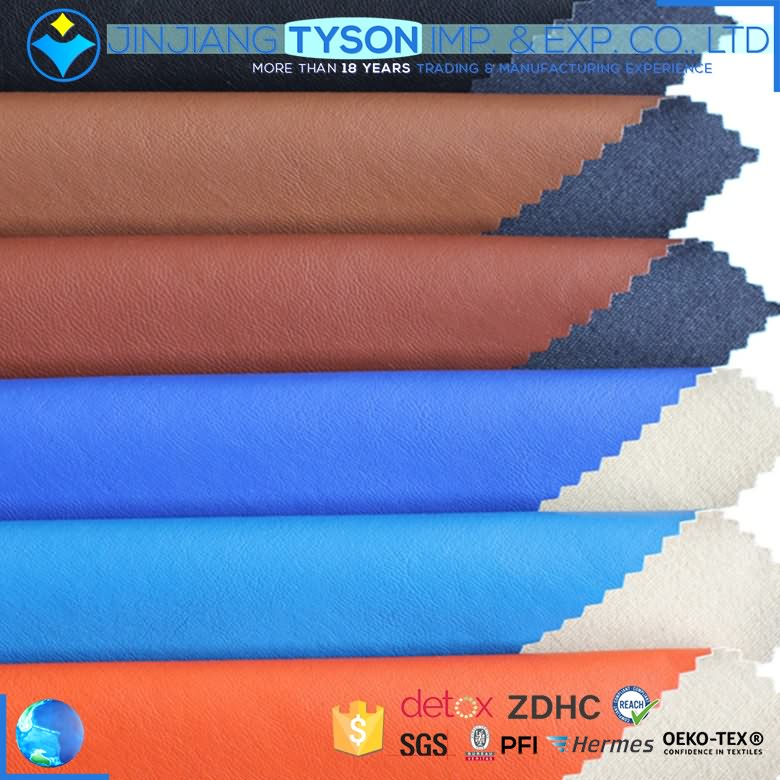 OEM customized color finished faux pu leather roll fabric for clothing