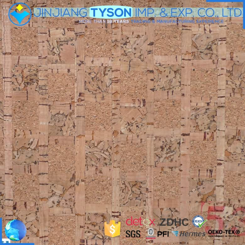 Wholesale fashion finished pattern cork synthetic leather fabric