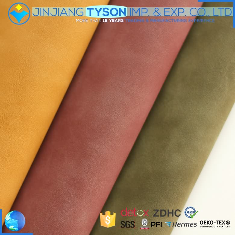 Various styles synthetic fabric pu waterbase yangbuck leather