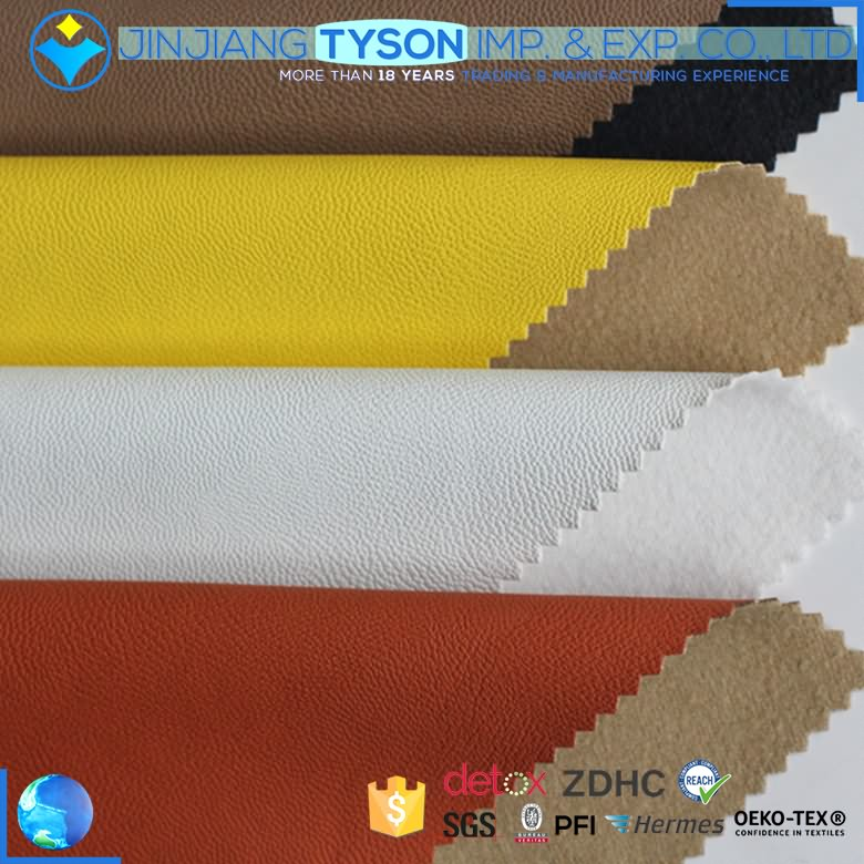 Eco-friendly material of full grain soft woven pu garment leather fabric