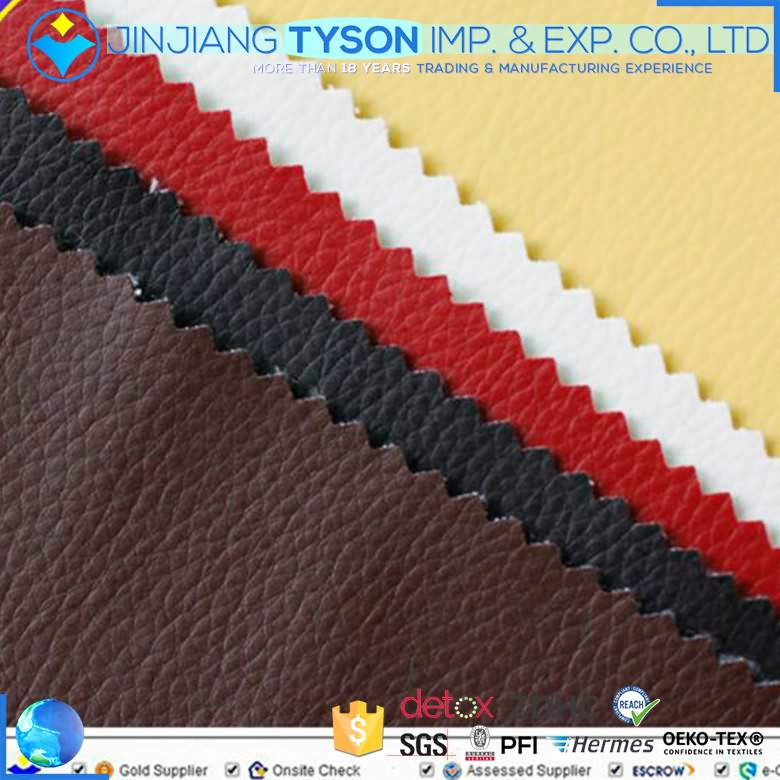 Litchi grain sofa making material faux pvc synthetic leather fabric