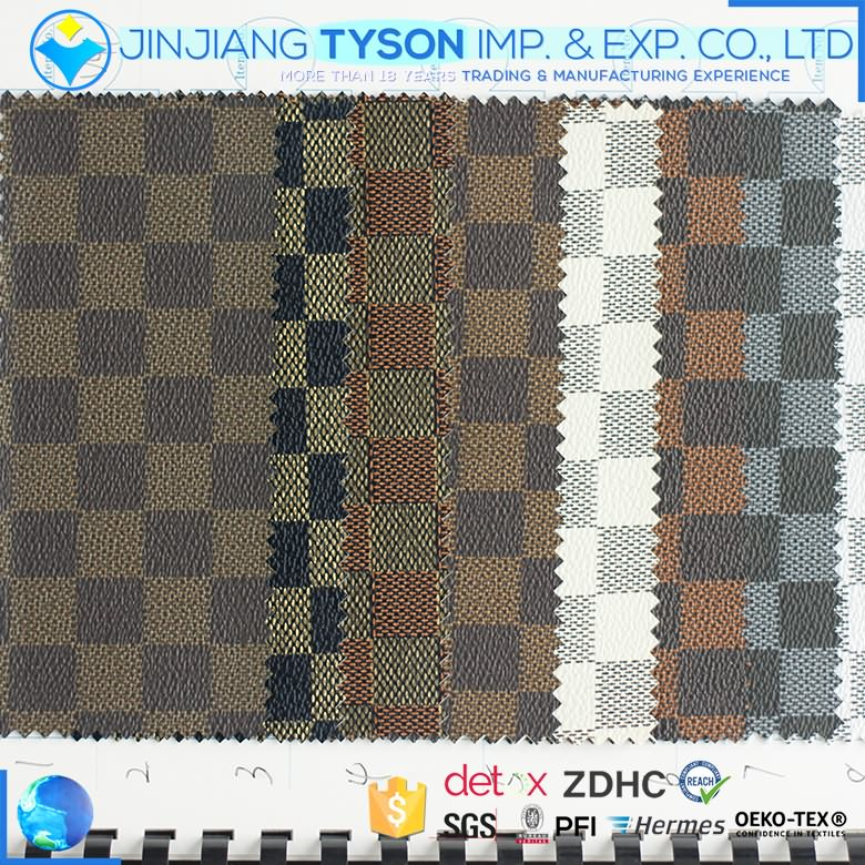 Most popular embossed check pattern synthetic pvc decoration leather