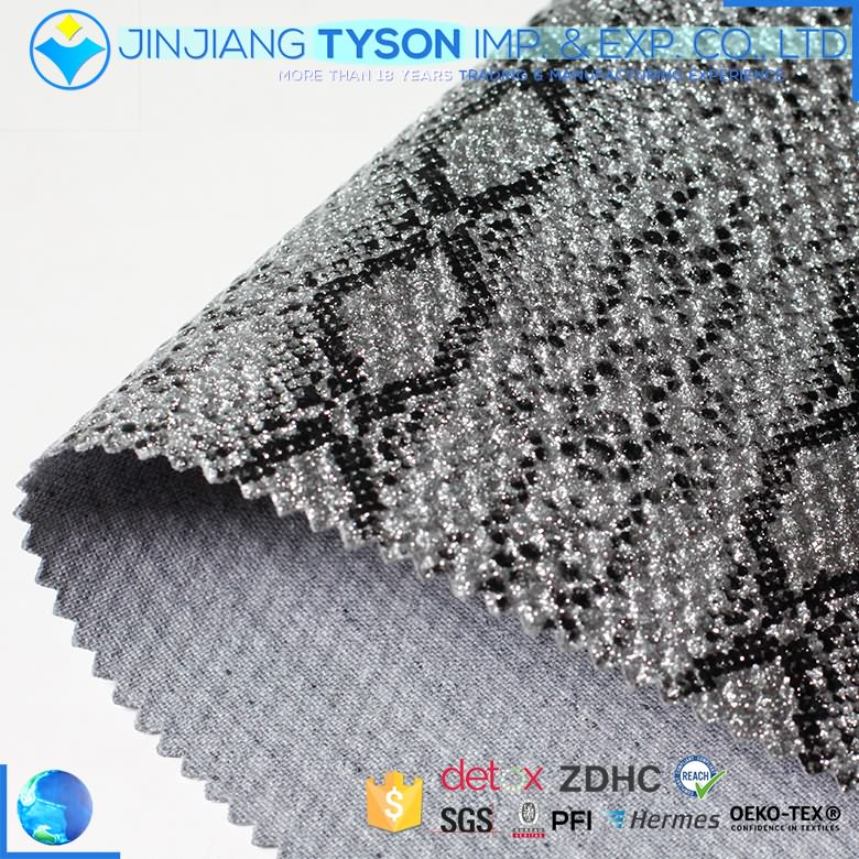 Mildew resistance woven backing pu mirror glitter leather
