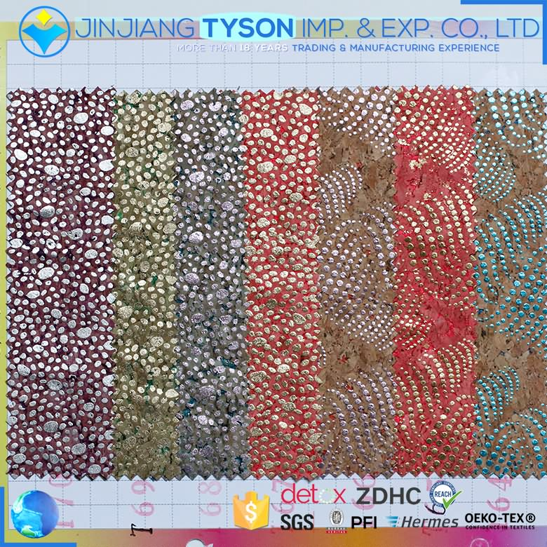 Wholesale multicolor foam process pu cork artificial leather