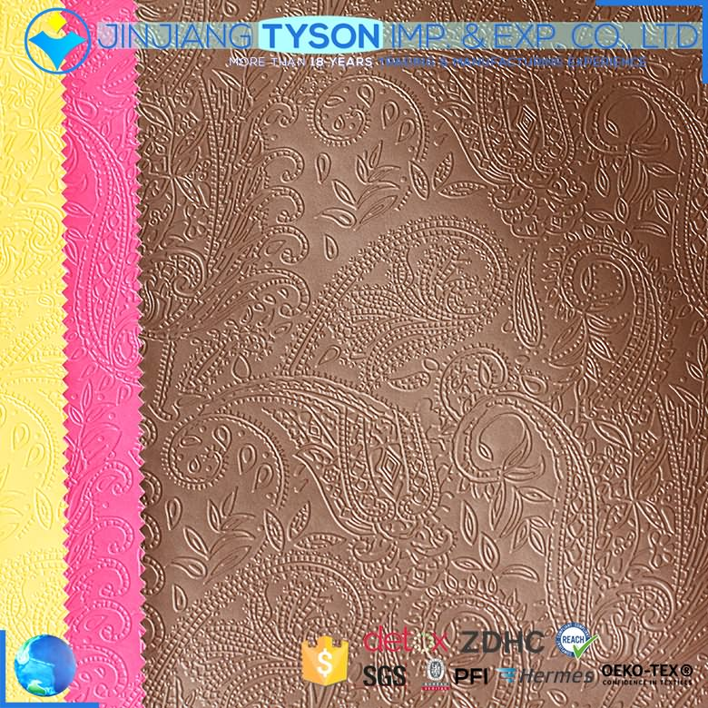Waterproof embossing pu coated synthetic leather for tablet case