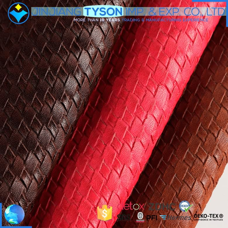 OEM service fire resistance pvc coated leather fabric for bag making