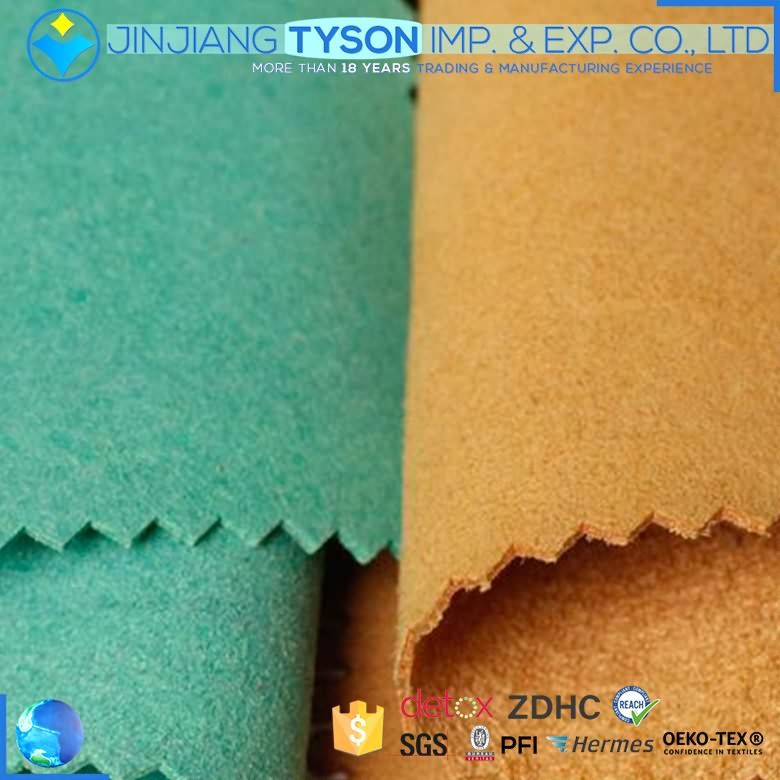 Pure color nonwoven backing microfiber suede synthetic leather for sale