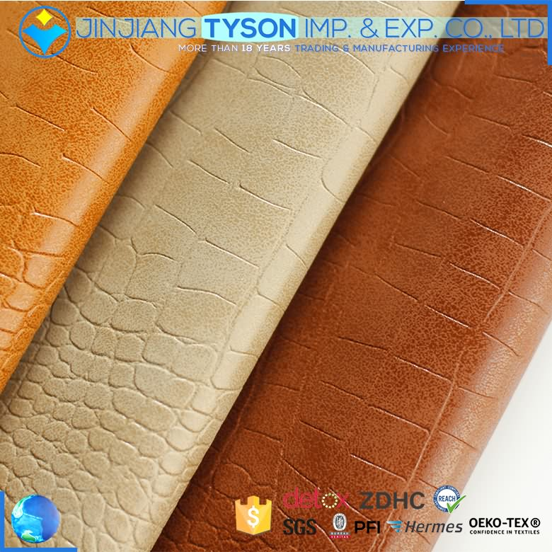 Superb synthetic embossed snake skin waterborne pu leather