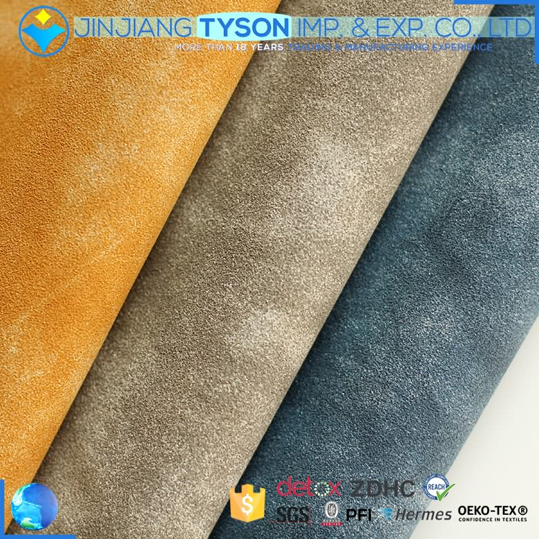 Two-tone artifical pu synthetic materials water base yanbuck leather