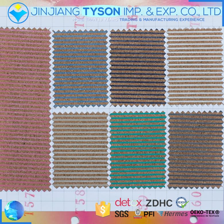 Wholesale woven backing 0.5mm thickness pu cork synthetic leather