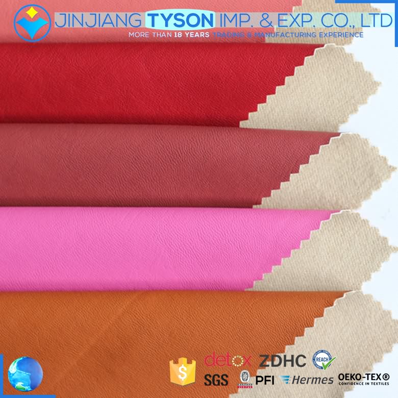 China manufacturer finished woven PU material garment rexine leather