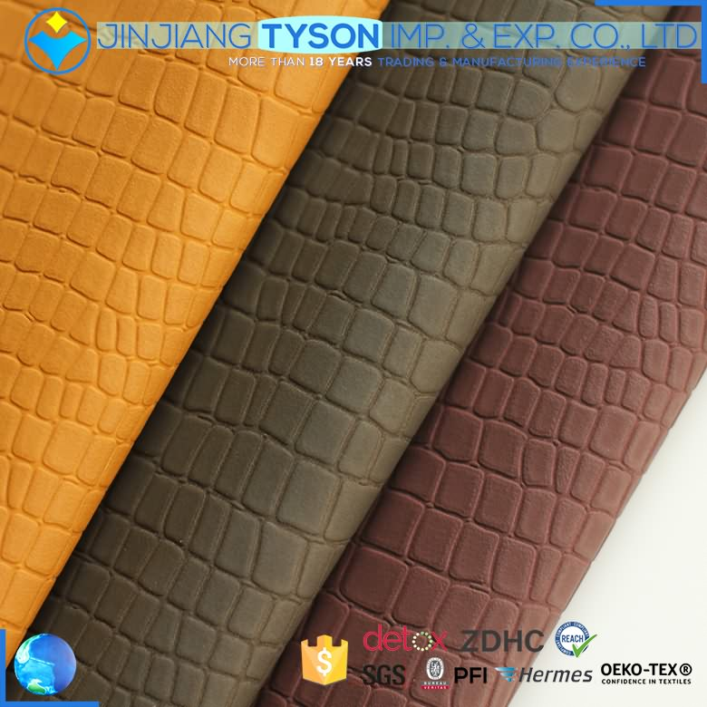 Skillful manufacture embossed pu waterborne synthetic yanbuck leather