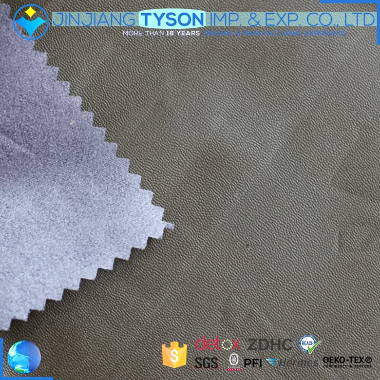 Nonwoven backing finished 0.2mm thin PU handmade leather for garment