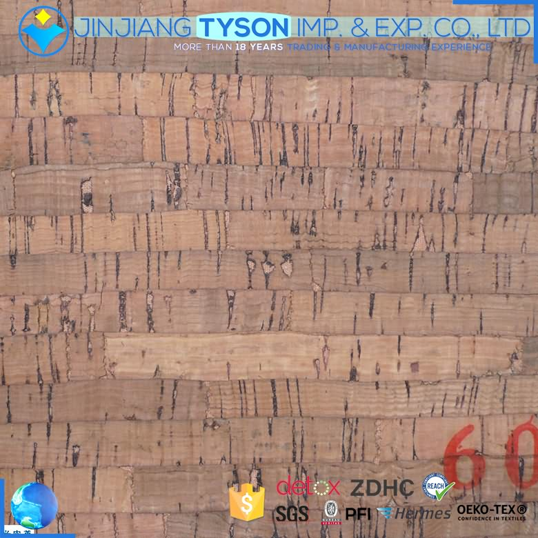 Wholesale wood surface 0.5mm natural cork synthetic leather fabric