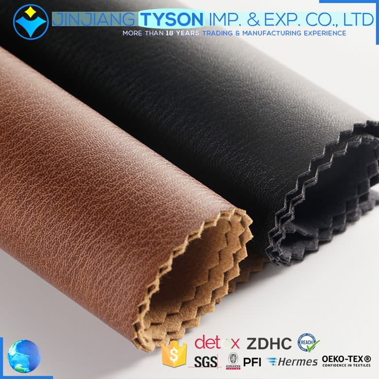 ECO-friendly finished faux waterborne synthetic pu leather material roll