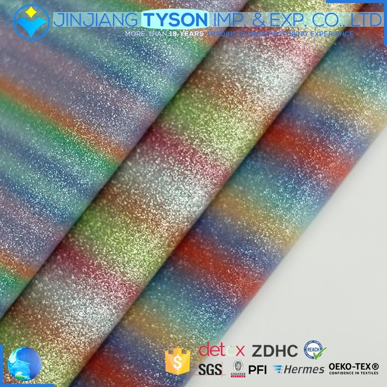 Factory sale rainbow colored faux pu fabric glitter leather