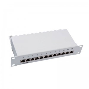 2019 China New Design Bolein 19 Inches Blank Patch Panel 24 Port Shielded Jack Stp Style Cat6 Cat6a Cat5e Unloaded Empty Patch Panel