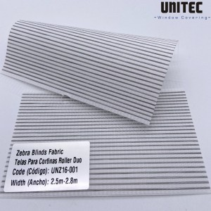 Translucent polyester striped zebra roller blind UNZ16-001—UNZ16-008