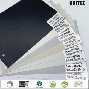 100% Blackout PVC fabrics with advanced fiberglass and PVC particles  -White  -Grey  -Beige  -Black