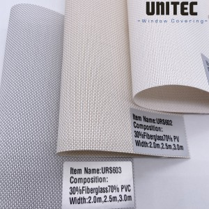 Light-colored sunscreen roller blind fabric URS603