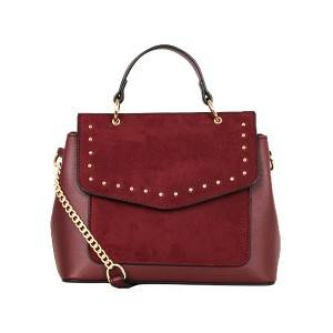 Burgundy Stud Shoulder Bag