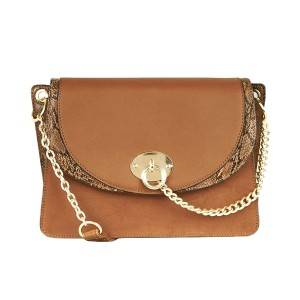 Tan Faux Snake Panel Shoulder Bag