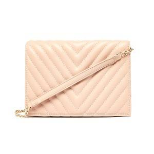 Foldover Chevron Quilted Clutch Bag
