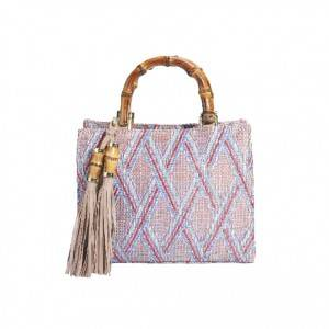 Straw Bag With Wood Handle