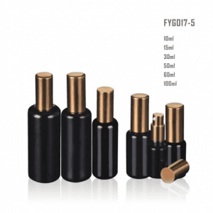 Wholesale Discount Cosmetic Bottle Suppliers Uk - Dark Violet Glass Bottle With Golden Pump/Sprayer And golden Lid – Uzone