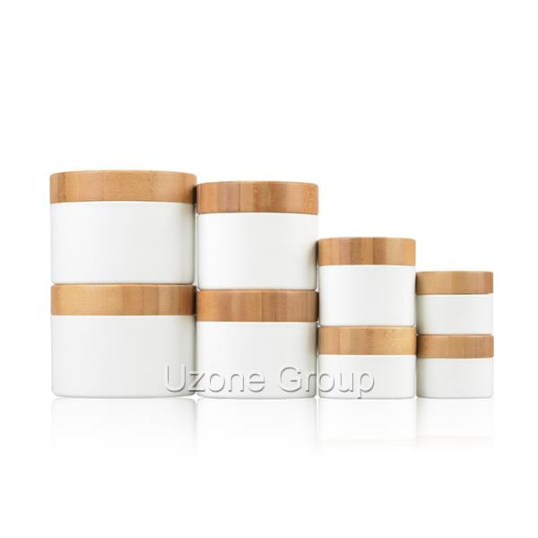 Plastic cream jar with bamboo lid
