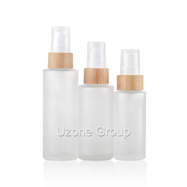 Clear frosted glass bottle with bamboo collar pump/sprayer Featured Image
