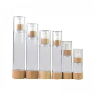 Airless Plastic Lotion Bottle With Bamboo Collar