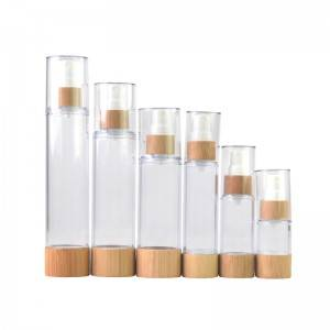 Airless Plastic Toner Bottle With Bamboo Collar