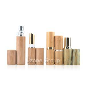 Metal lip balm and perfume atomizer with bamboo cover