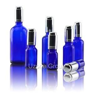 Cobalt eliluhlaza Essential Oil Bottle Nge Aluminium Dropper