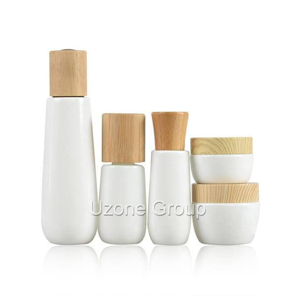 Opal White Glass Bottle And Jar With Bamboo/Rubber Wooden Cap/Dropper Featured Image